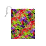 Colorful Mosaic Drawstring Pouches (Medium)  Back
