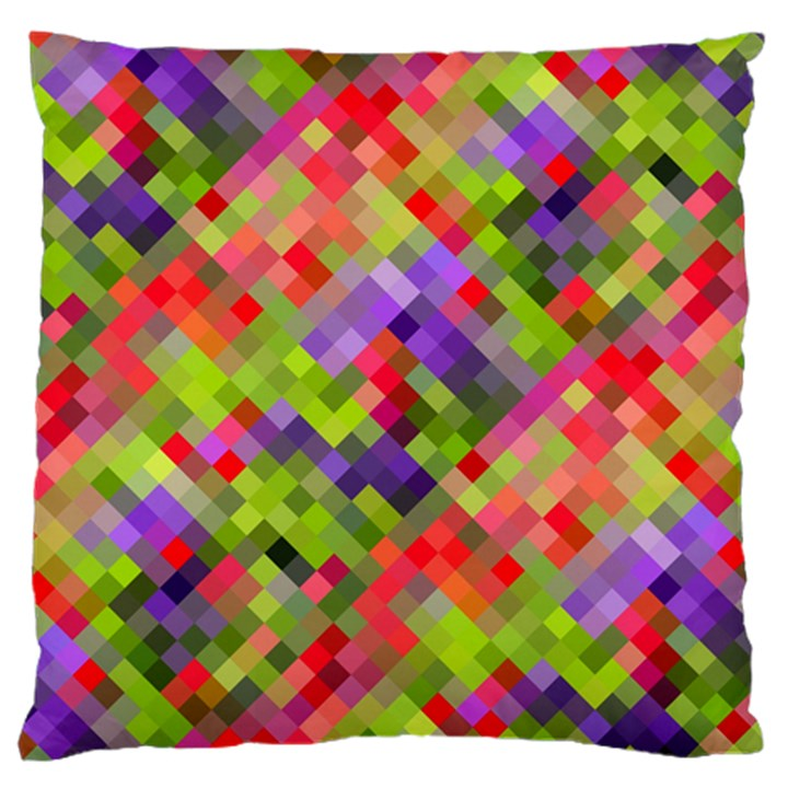 Colorful Mosaic Large Flano Cushion Case (Two Sides)