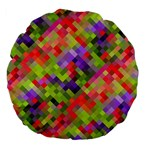 Colorful Mosaic Large 18  Premium Flano Round Cushions Back