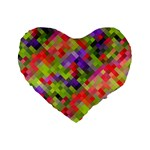 Colorful Mosaic Standard 16  Premium Flano Heart Shape Cushions Front