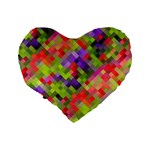Colorful Mosaic Standard 16  Premium Flano Heart Shape Cushions Back