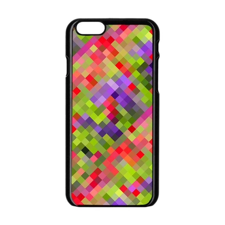 Colorful Mosaic Apple iPhone 6/6S Black Enamel Case
