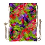 Colorful Mosaic Drawstring Bag (Large) Front