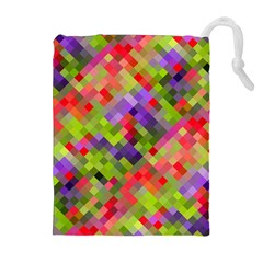 Colorful Mosaic Drawstring Pouches (Extra Large)