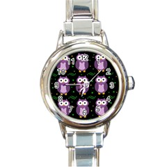 Halloween purple owls pattern Round Italian Charm Watch