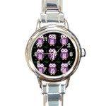 Halloween purple owls pattern Round Italian Charm Watch Front