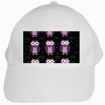 Halloween purple owls pattern White Cap Front