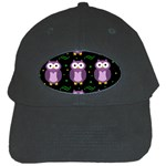 Halloween purple owls pattern Black Cap Front