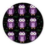 Halloween purple owls pattern Round Mousepads Front