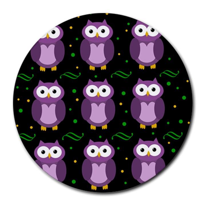 Halloween purple owls pattern Round Mousepads