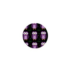 Halloween Purple Owls Pattern 1  Mini Buttons