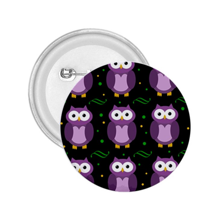 Halloween purple owls pattern 2.25  Buttons
