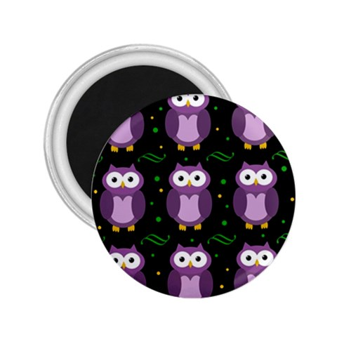 Halloween purple owls pattern 2.25  Magnets