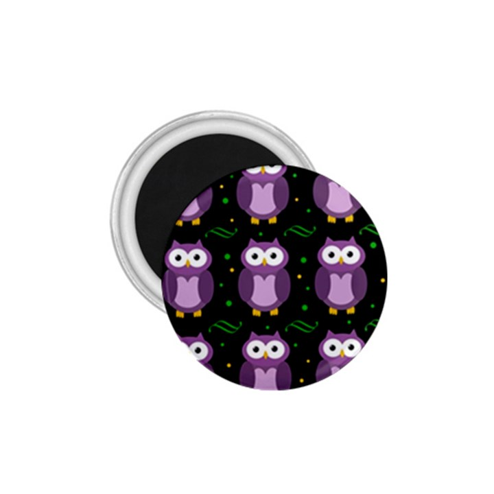 Halloween purple owls pattern 1.75  Magnets