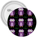Halloween purple owls pattern 3  Buttons Front