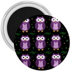 Halloween purple owls pattern 3  Magnets Front