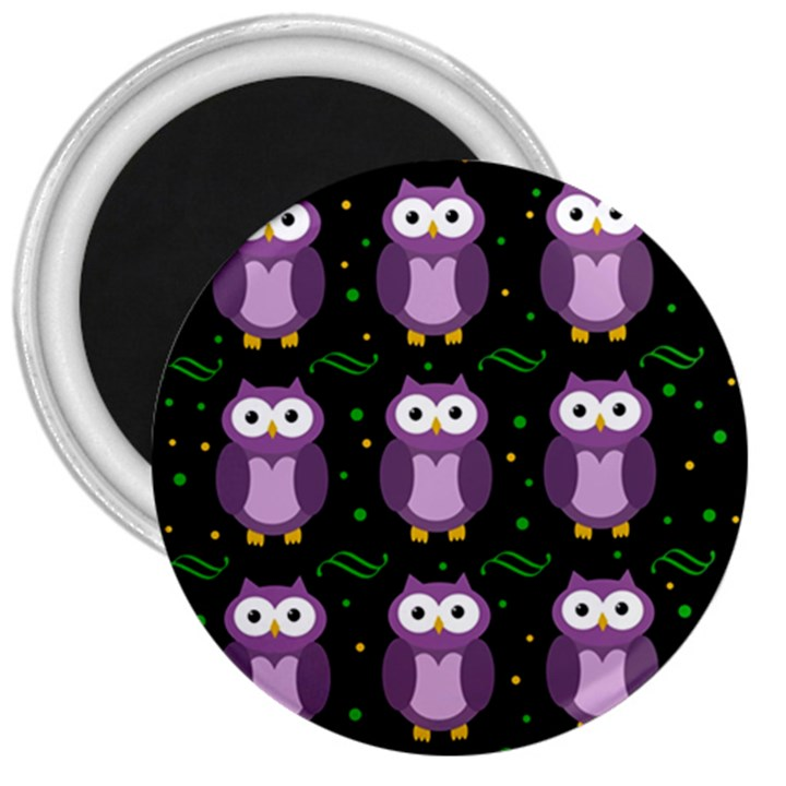 Halloween purple owls pattern 3  Magnets
