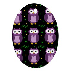 Halloween purple owls pattern Ornament (Oval)
