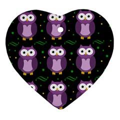 Halloween Purple Owls Pattern Ornament (heart)