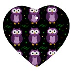Halloween purple owls pattern Ornament (Heart)  Front