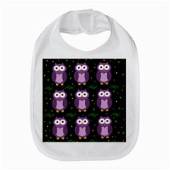 Halloween purple owls pattern Bib