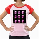 Halloween purple owls pattern Women s Cap Sleeve T-Shirt Front