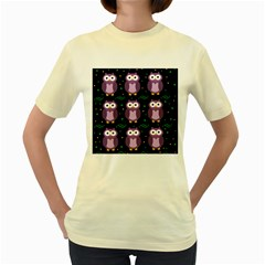 Halloween Purple Owls Pattern Women s Yellow T Shirt