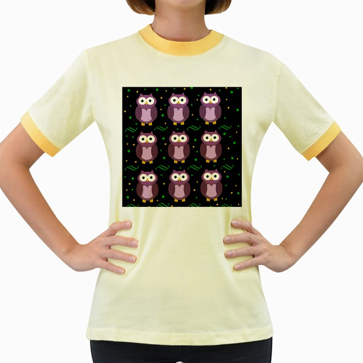 Halloween purple owls pattern Women s Fitted Ringer T-Shirts