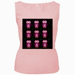 Halloween Purple Owls Pattern Women s Pink Tank Top
