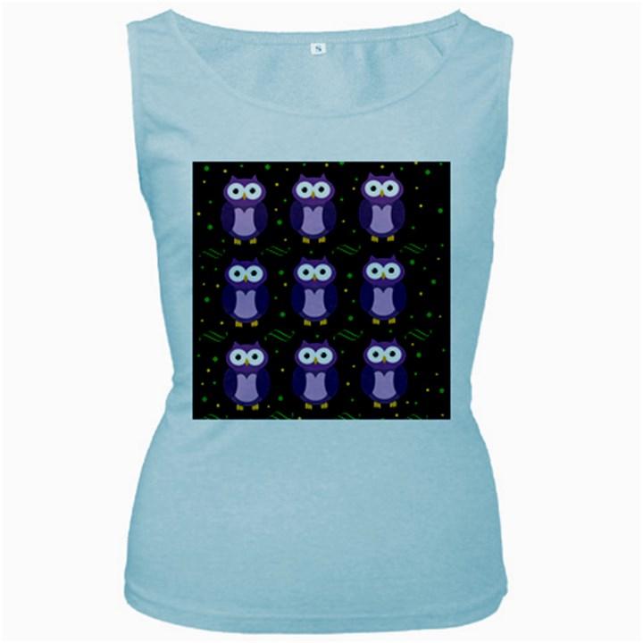 Halloween purple owls pattern Women s Baby Blue Tank Top