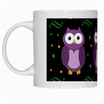 Halloween purple owls pattern White Mugs Left
