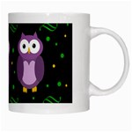 Halloween purple owls pattern White Mugs Right