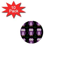 Halloween purple owls pattern 1  Mini Buttons (10 pack)