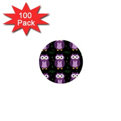 Halloween purple owls pattern 1  Mini Buttons (100 pack)