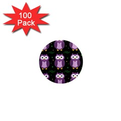 Halloween Purple Owls Pattern 1  Mini Magnets (100 Pack)