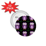 Halloween purple owls pattern 1.75  Buttons (10 pack) Front