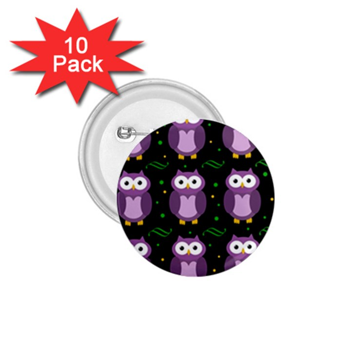 Halloween purple owls pattern 1.75  Buttons (10 pack)