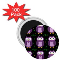 Halloween Purple Owls Pattern 1 75  Magnets (100 Pack)