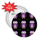 Halloween purple owls pattern 2.25  Buttons (10 pack)  Front