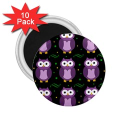 Halloween Purple Owls Pattern 2 25  Magnets (10 Pack)