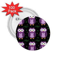 Halloween Purple Owls Pattern 2 25  Buttons (100 Pack)