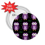 Halloween purple owls pattern 2.25  Buttons (100 pack)  Front