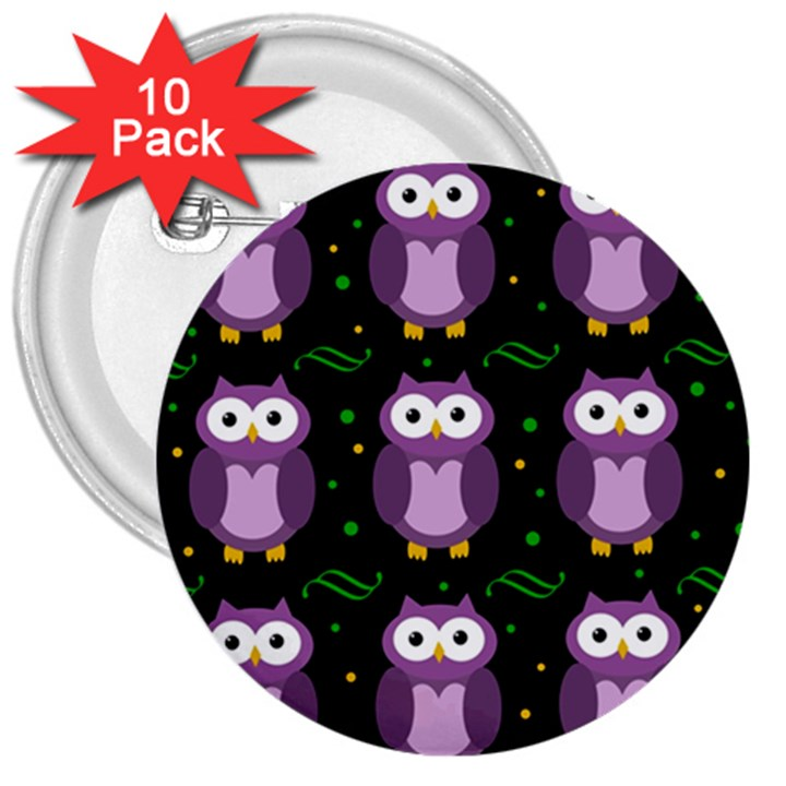 Halloween purple owls pattern 3  Buttons (10 pack)