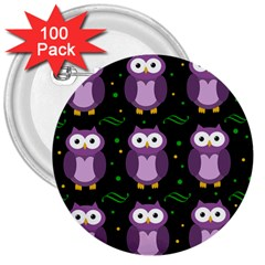 Halloween Purple Owls Pattern 3  Buttons (100 Pack)