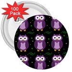 Halloween purple owls pattern 3  Buttons (100 pack)  Front