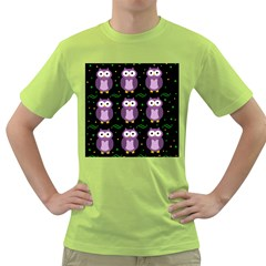 Halloween purple owls pattern Green T-Shirt