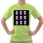 Halloween purple owls pattern Green T-Shirt Front