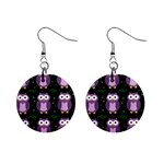Halloween purple owls pattern Mini Button Earrings Front