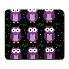 Halloween purple owls pattern Large Mousepads