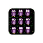 Halloween purple owls pattern Rubber Coaster (Square)  Front